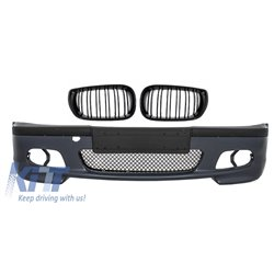 Front Bumper BMW E46 M-Technik Model with Central Grilles M Design Piano Black Assembly